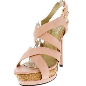Maker's Shoes - Manhattan9 Blush Open Toe Cork Platform Heels